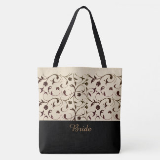 Bride Tote Bag Beige & Brown Scrolls