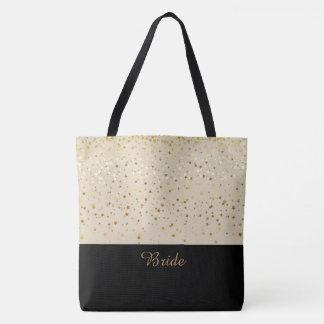 Bride Tote Bag Beige & Petite Golden Stars