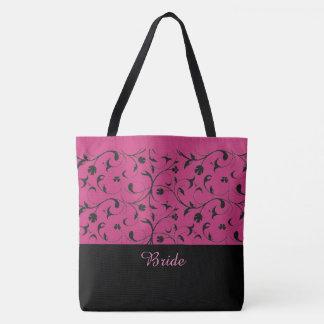 Bride Tote Bag Hot Pink & Black Scrolls