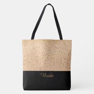 Bride Tote Bag Peach & Petite Golden Stars