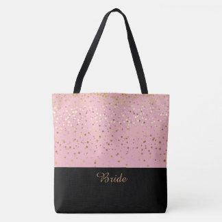 Bride Tote Bag Pink & Petite Golden Stars