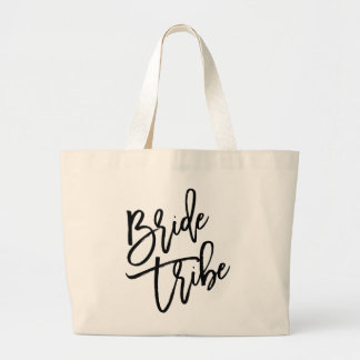 Bride Tribe Black Script Jumbo Tote Bag