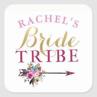 Bride Tribe Bridal Shower Stickers Floral Hen
