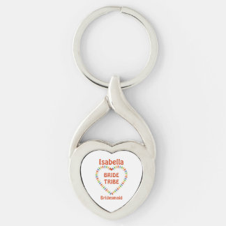 Bride Tribe, Bridesmaid Custom Silver-Colored Twisted Heart Key Ring