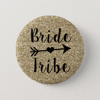 Bride Tribe Bridesmaid gold glitter button