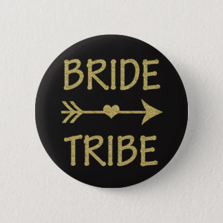 Bride Tribe Bridesmaid Gold Glitter buttons