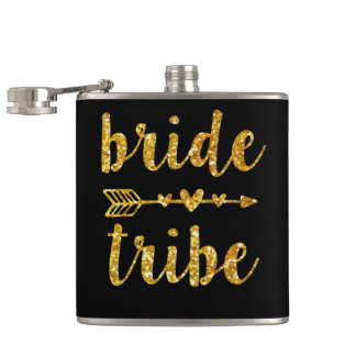 Bride Tribe Bridesmaid Gold Glitter Hip Flask