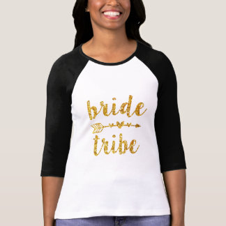 Bride Tribe Bridesmaid Gold Glitter T-Shirt