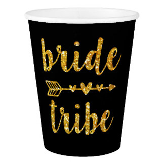 Bride tribe Bridesmaid paper cups gold glitter