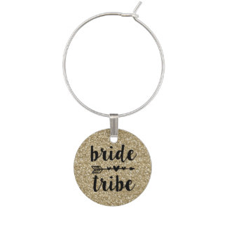 Bride Tribe Bridesmaid wine charms Gold Glitter