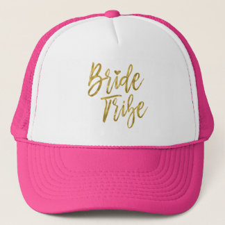 Bride Tribe Faux Gold Foil and Pink with Heart Trucker Hat