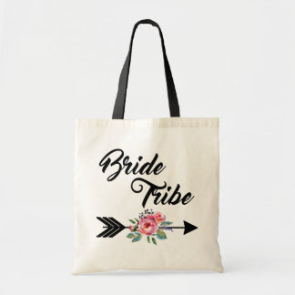 Bride Tribe Floral Arrow Tote Bag