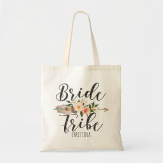 """Bride Tribe"" Floral Feather Arrow Personalized Tote Bag"