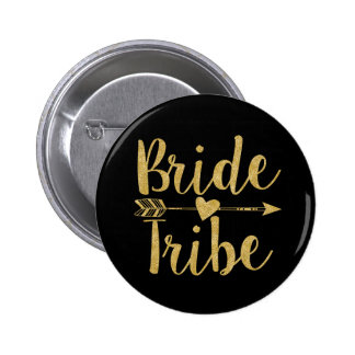 Bride Tribe | Glitter-Print Golden 6 Cm Round Badge