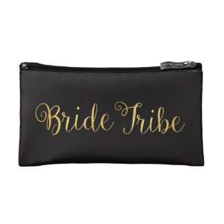 Bride Tribe golden Makeup Bag