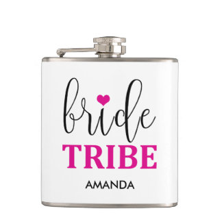 """Bride Tribe"" Hot Pink Cute Bridal Party Flask"