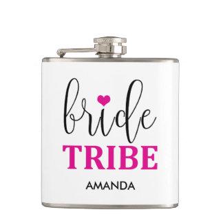 Bride Tribe Hot Pink Cute Bridesmaid Flask