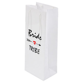 Bride Tribe Red Heart Arrow White Wine Gift Bag