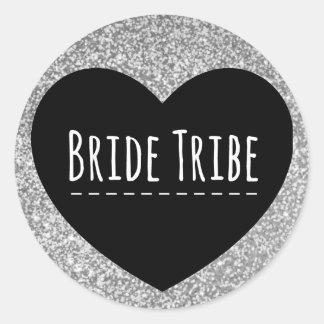 Bride Tribe   Silver Glitter   Heart   Sticker