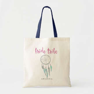 Bride Tribe Watercolor Dreamcatcher Bridesmaid Tote Bag