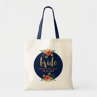 Bride Typography & Floral Bouquet Tote Bag