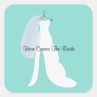 Bride & Veil Here Comes The Bride Square Stickers