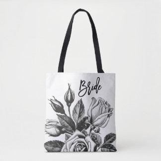 Bride | Vintage Tea Roses in Black and White Tote Bag