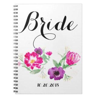 Bride Watercolor Flowers Notebook