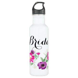 Bride Watercolor Flowers Water 710 Ml Water Bottle