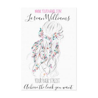 Bride Wavy hair floral wreath Hairstyling branding Canvas Print