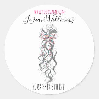 Bride Wavy hair floral wreath Hairstyling branding Classic Round Sticker