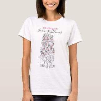 Bride Wavy hair floral wreath Hairstyling branding T-Shirt