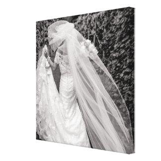 Bride Wedding Bouquet Black and White Photo Canvas