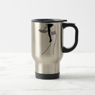 Bride wedding dress silhouette coffee mug