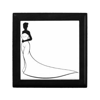 Bride Wedding Dress Silhouette Small Square Gift Box