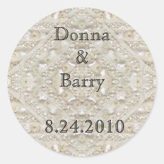 Bride Wedding  lace antique Classic Round Sticker