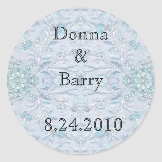 Bride Wedding  lace pale blue Classic Round Sticker