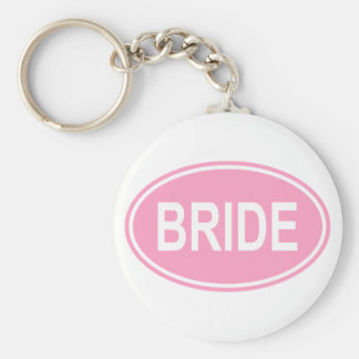 Bride Wedding Oval Pink Basic Round Button Key Ring