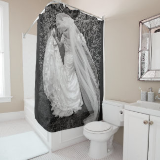Bride Wedding Shower Curtain Photo Black White