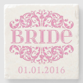 Bride wedding stone coasters Save the Date Pink