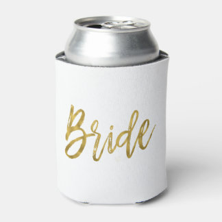 Bride White and Gold Foil Can Cooler