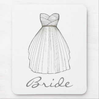 BRIDE White Bridal Gown Wedding Princess Dress Mouse Pad