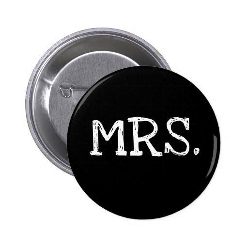 Bride White Text Mrs. 6 Cm Round Badge