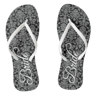 Bride with Black and White Damask Pattern Thongs