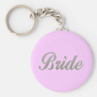 Bride with bling basic round button key ring