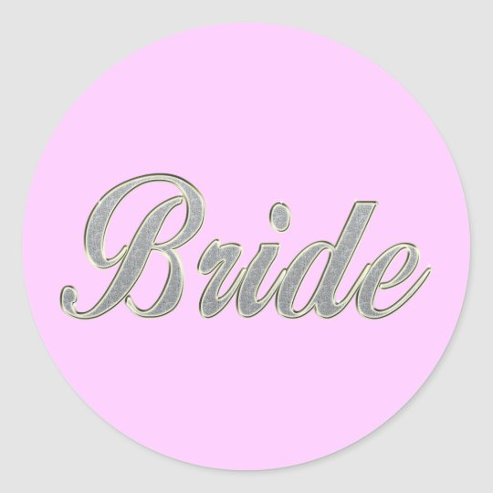 Bride with bling classic round sticker