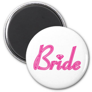 Bride with Bling - Pink 6 Cm Round Magnet