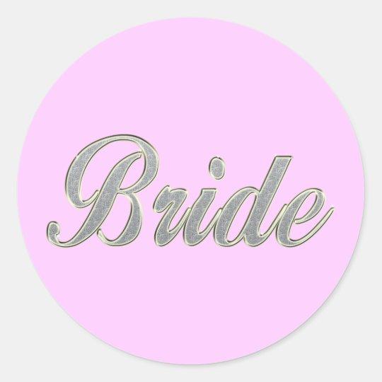 Bride with bling round sticker