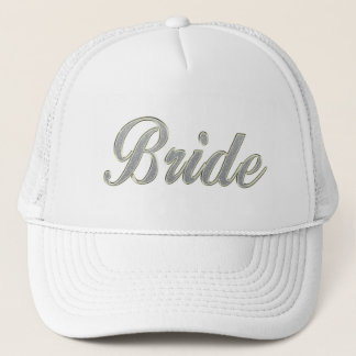 Bride with bling trucker hat