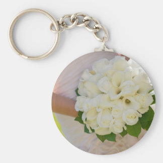 Bride With Bouquet Basic Round Button Key Ring